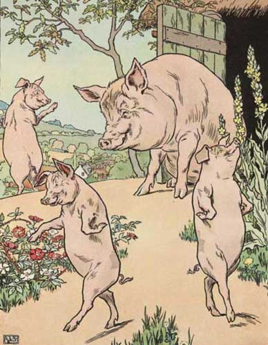 Original Illustration of Three Little Pigs bedtime story
