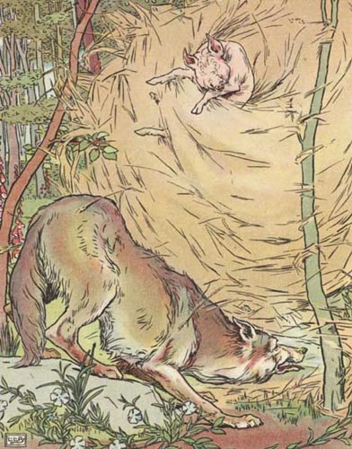 Original Illustration of wolf and straw house from Three Little Pigs bedtime story