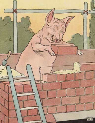 Original Illustration of pig and brick house from Three Little Pigs bedtime story