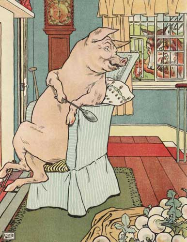 Original Illustration of pig and wolf fromThree Little Pigs bedtime story