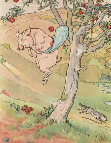 Original Illustration of pig and apples from Three Little Pigs bedtime story