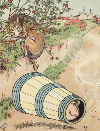 Original Illustration of wolf and barrel from Three Little Pigs bedtime story