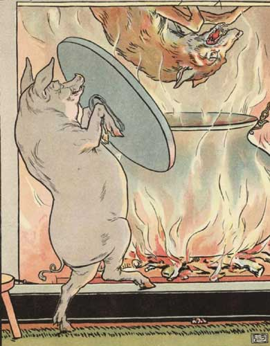 Original Illustration of pig and pot from Three Little Pigs bedtime story