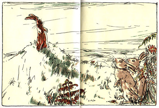 Toy rabbit seeing real rabbit: Original Illustration of The Velveteen Rabbit bedtime story