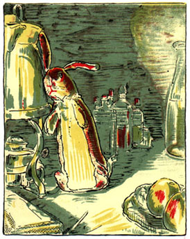 Rabbit listening at the door: Original Illustration of The Velveteen Rabbit bedtime story