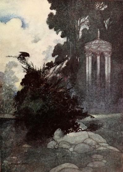 Oscar Wilde's Devoted Friend bedtime story illustration of the green linnet