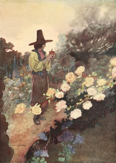 Oscar Wilde's Devoted Friend bedtime story illustration of little Hans in his garden