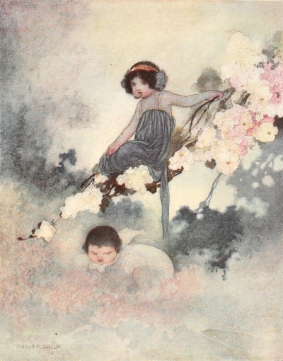 Oscar Wilde's Selfish Giant bedtime story illustration of children playing in the trees