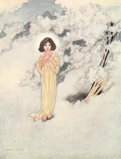 Oscar Wilde's Selfish Giant bedtime story illustration of the child in the garden