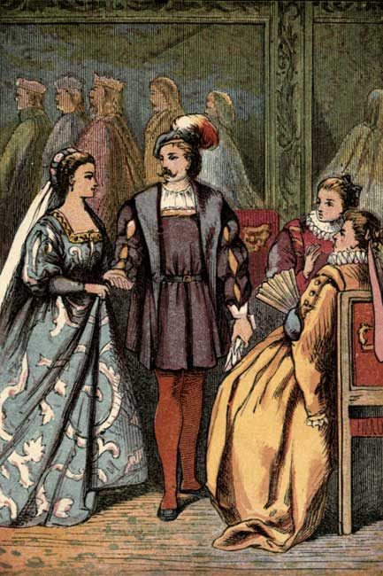 Original vintage illustration of Cinderella talking with courtiers at the ball for Cinderella fairy tale