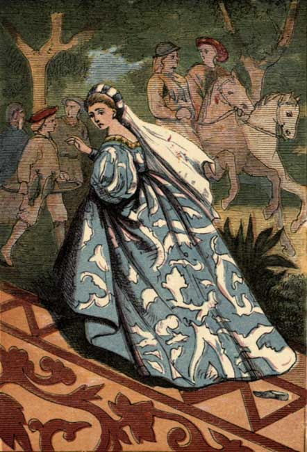 Original vintage illustration of Cinderella running at midnight for Cinderella fairy tale