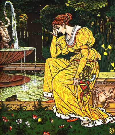 Princess sits by pond - Original illustration by Walter Crane for the kids short story The Frog Prince