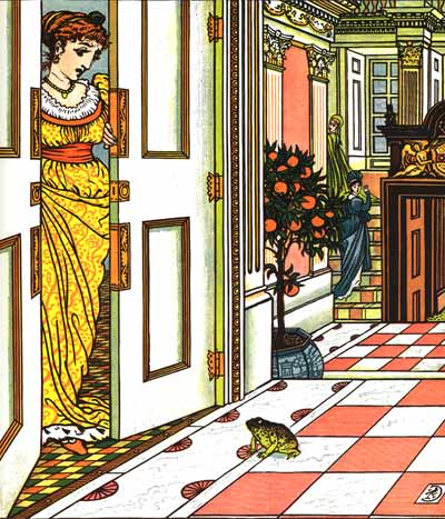 Princess sees frog in her home - Original illustration by Walter Crane for the kids short story The Frog Prince