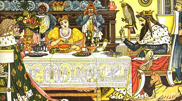 Frog eats with Princess at the table - Original illustration by Walter Crane for the kids short story The Frog Prince