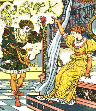 The Frog turns into a Prince - Original illustration by Walter Crane for the kids short story The Frog Prince