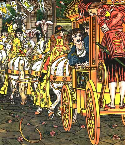 The Prince rides in his carriage - Original illustration by Walter Crane for the kids short story The Frog Prince