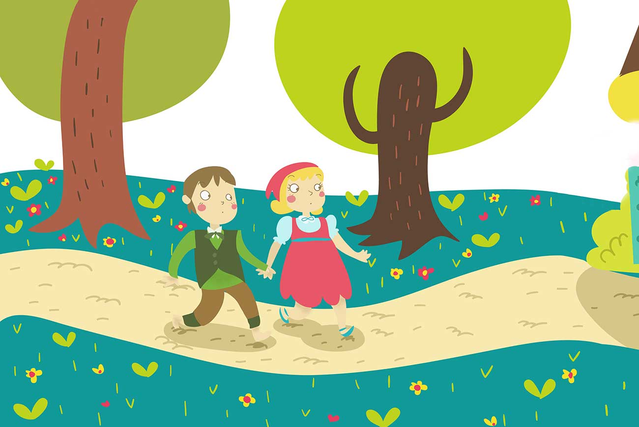 Illustration of children walking in forest for bedtime story Fundevogel