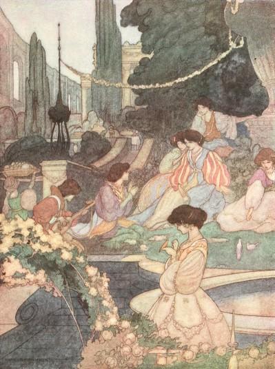 Oscar Wilde's Happy Prince bedtime story illustration of the Palace of Sans Souci