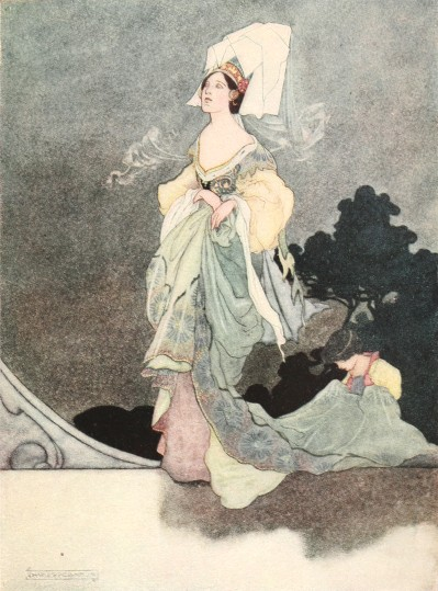 Oscar Wilde's Happy Prince bedtime story illustration of the Queen's maid of honour