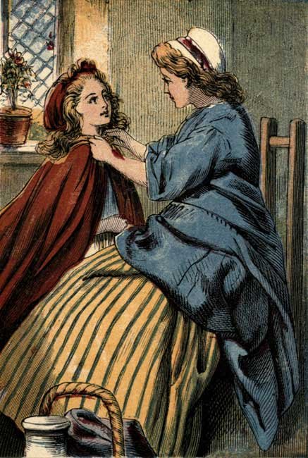 Vintage storybook illustration of mother and daughter for Little Red Riding Hood