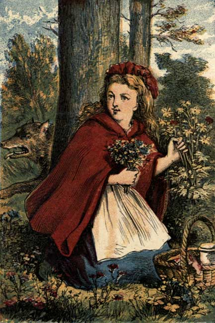 Vintage storybook illustration of Little Red Riding Hood in forest with flowers
