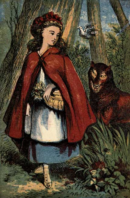 Vintage storybook illustration of Little Red Riding Hood with wolf