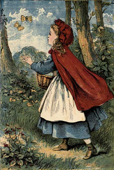 Vintage storybook illustration of Little Red Riding Hood walking in forest with basket