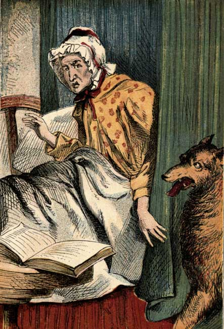 Vintage storybook illustration of Little Red Riding Hood's grandmother with wolf