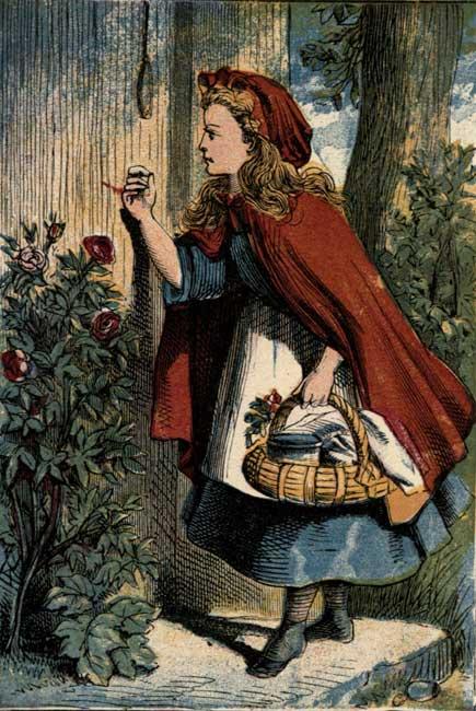 Vintage storybook illustration of Little Red Riding Hood knocking at grandmother's door