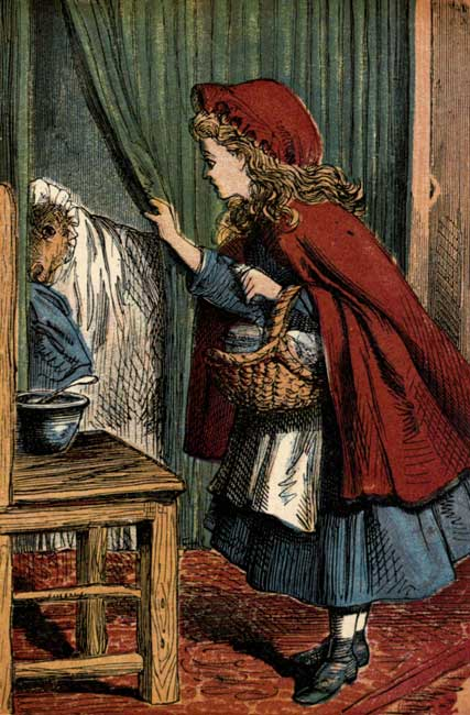 Vintage storybook illustration of Little Red Riding Hood and wolf in grandmother clothing