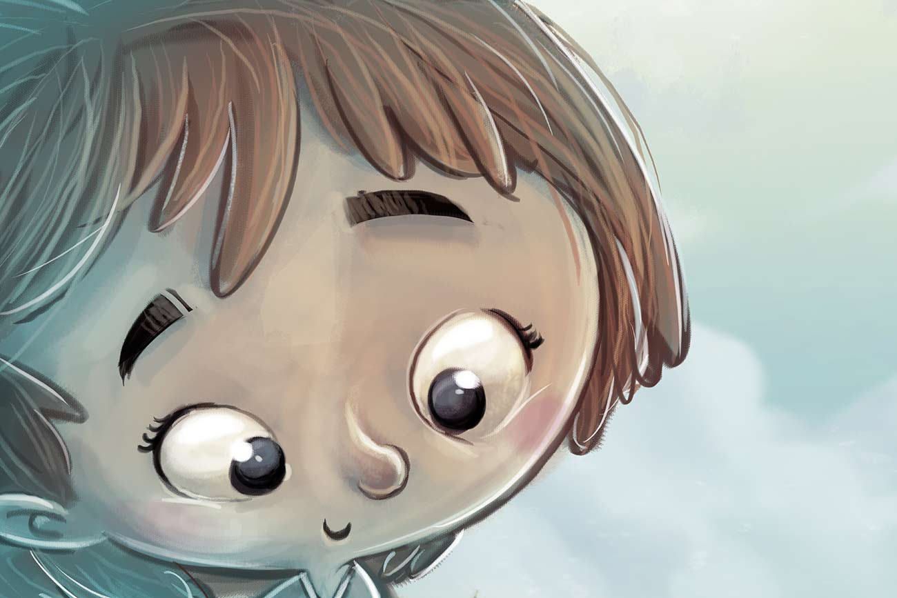 Illustration of girl's face for children's short story The Little Match Girl