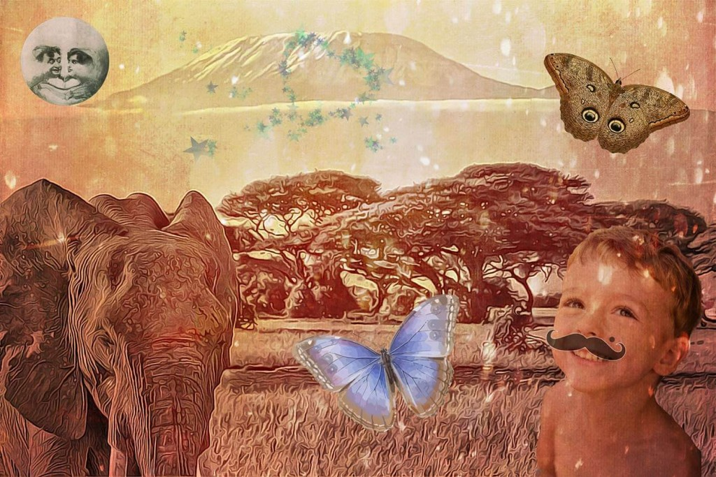 Children's illustration of elephant at Kilimanjaro for Monsieur Le Dot bedtime story