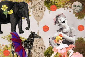 Illustration of child's circus for children's short story Monsieur Le Dot