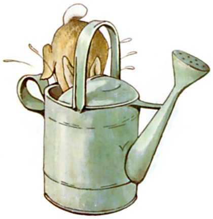 Original Illustration of rabbit in a watering can, from Tale of Peter Rabbit bedtime story