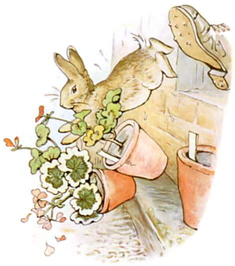 Original Illustration of rabbit knocking down pots, from Tale of Peter Rabbit bedtime story