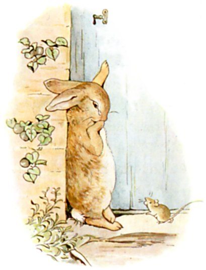 Original Illustration of rabbit and door from Tale of Peter Rabbit bedtime story