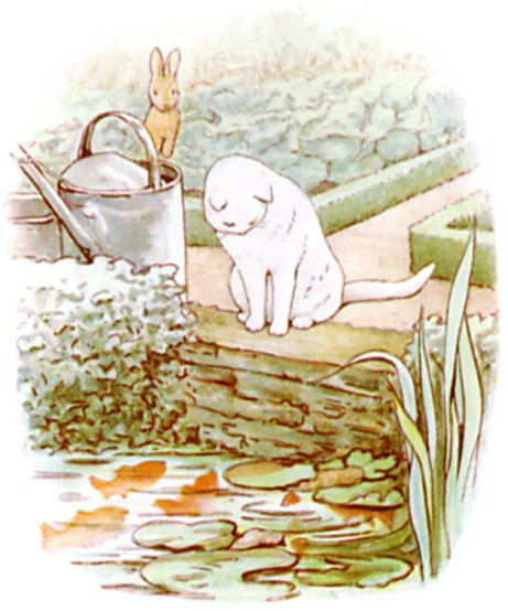 Original Illustration of white cat and goldfish from Tale of Peter Rabbit bedtime story