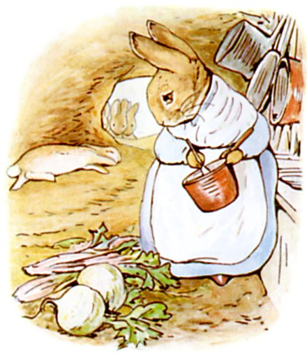 Original Illustration of Mother rabbit in burrow, from Tale of Peter Rabbit bedtime story