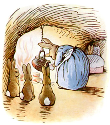 Original Illustration of Mother Rabbit cooking, from Tale of Peter Rabbit bedtime story