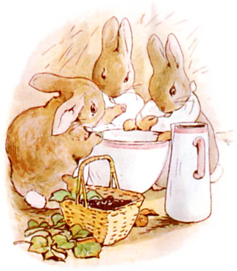 Original Illustration of Flopsy, Mopsy and Cottontail from Tale of Peter Rabbit bedtime story