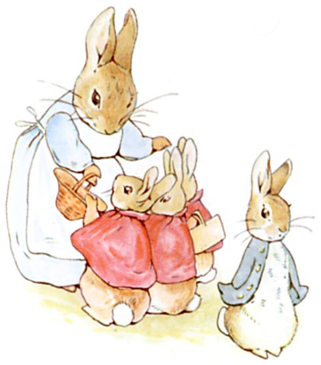 Original Illustration of mother rabbit with her children, from Tale of Peter Rabbit bedtime story