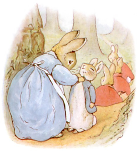 Original Illustration of mother rabbit dressing babies, from Tale of Peter Rabbit bedtime story