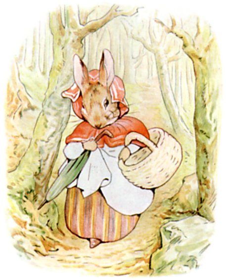 Original Illustration of mother rabbit in red cloak, from Tale of Peter Rabbit bedtime story