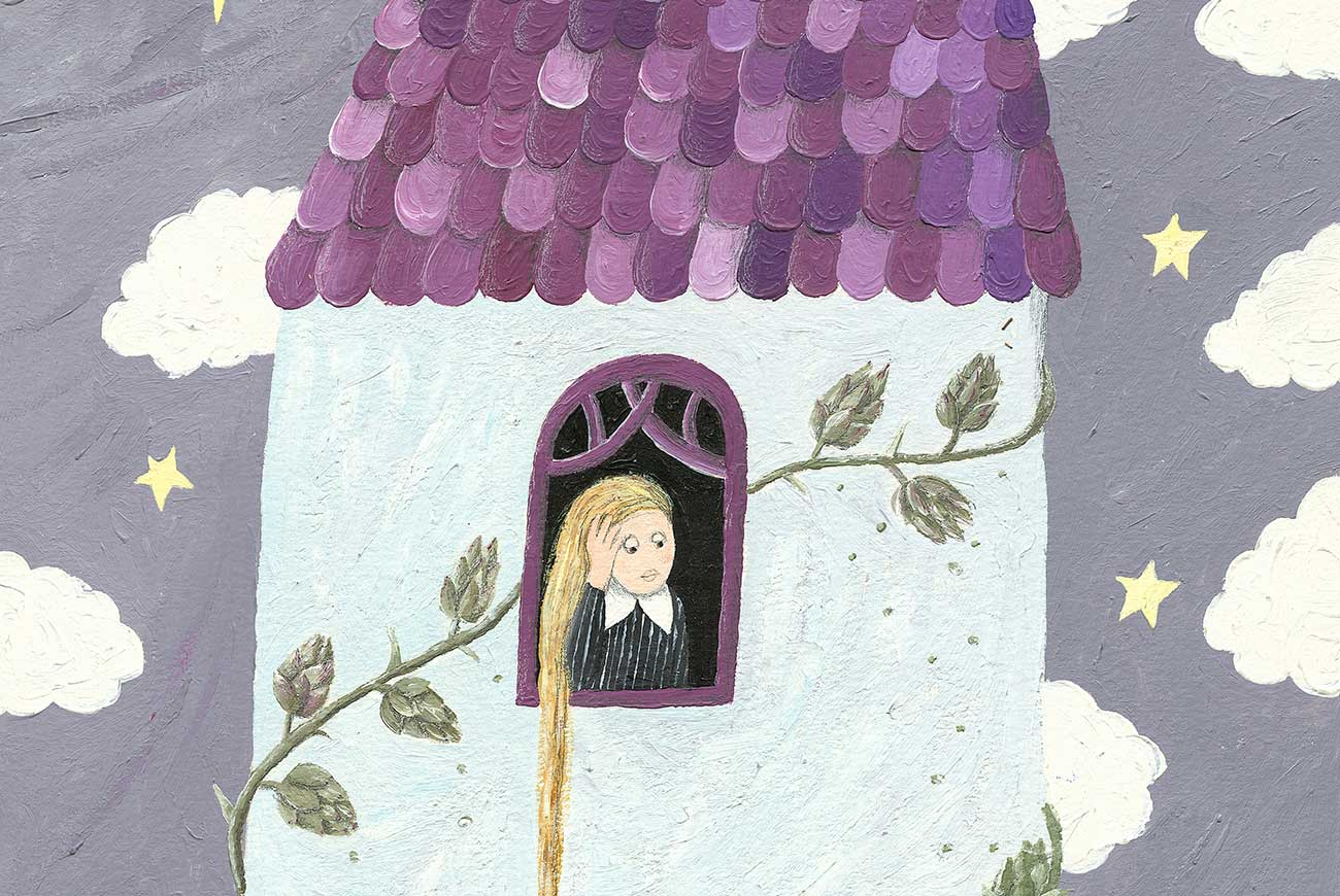 Illustration of girl in tower for bedtime story Rapunzel