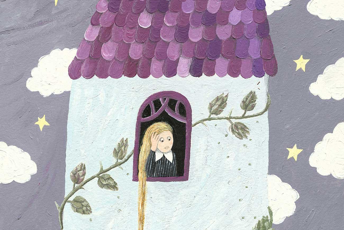 Illustration of girl in tower for bedtime story Rapunzel