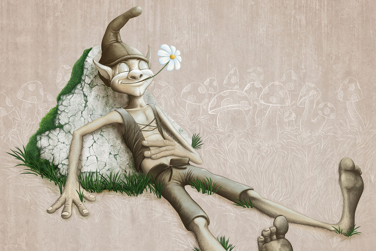 Illustration of pixie reclining for children's short story Riquet of the Tuft