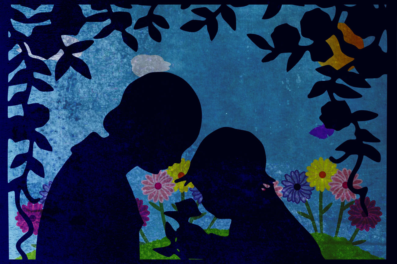 Illustration of mother and child in a garden for children's short story The Selfish Giant