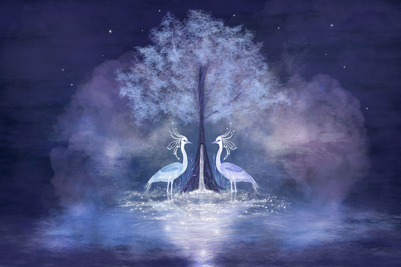 Illustration of two herons by moonlight for children's short story The Star Child