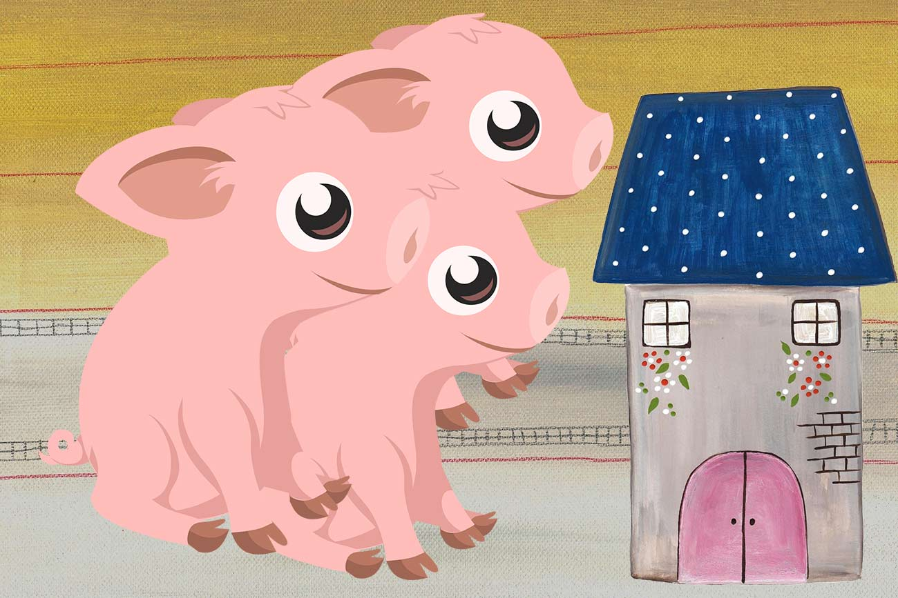 Illustration of pigs and house for children's short story The Three Little Pigs