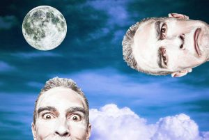Illustration of moon and crazy faces for children's short story The Three Sillies